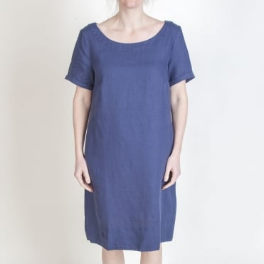 Holiday Linen Dress in Navy