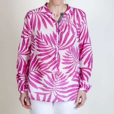 Leona Fancy Bamboo Print Top in Pink