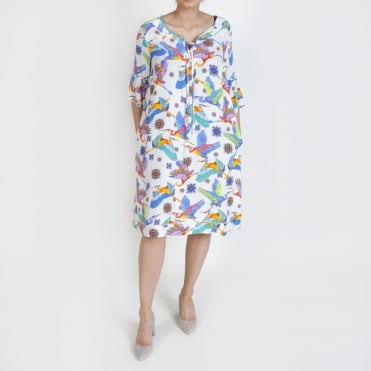 Molly Kingfisher Print Easy Dress in Multi