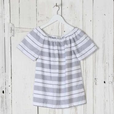 Stripe Cotton Off Shoulder Top
