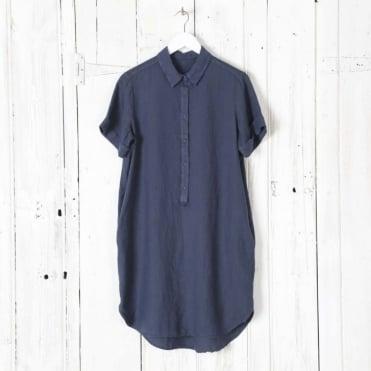 Linen Shirt Dress with Pockets