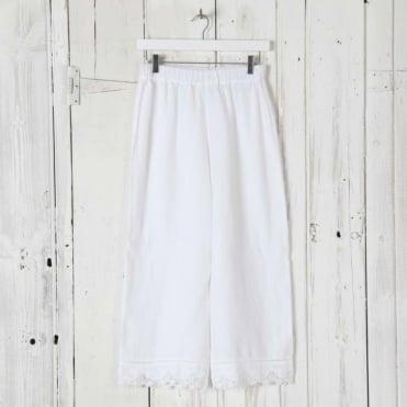 Linen Trouser with Lace Trim