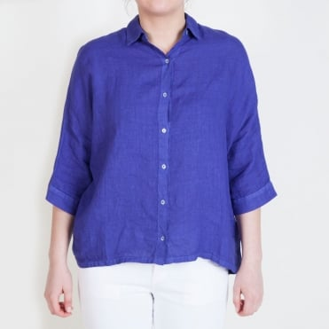 3/4 Sleeve Button Shirt in Deep Wisteria