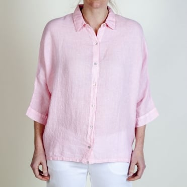 3/4 Sleeve Button Shirt in Seashell