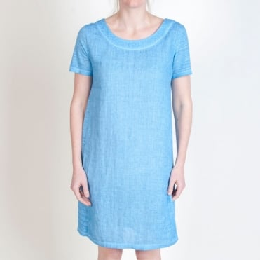 Cap Sleeve Shift Dress in Azure Blue