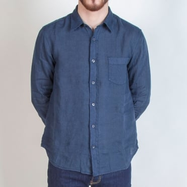 Classic Linen Long Sleeve Shirt in Graphite