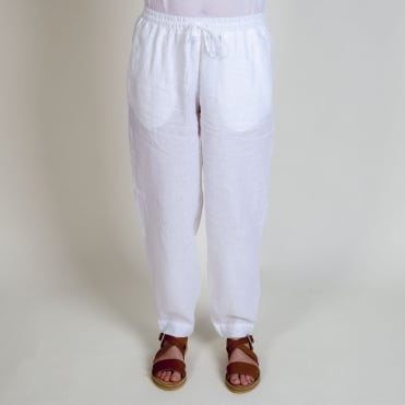 Elasticated Waist Trousers in White