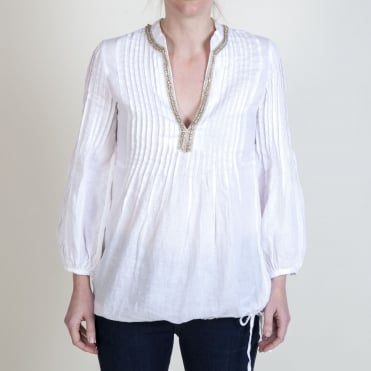 Embellished V Neck Blouse in White
