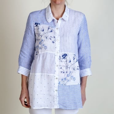 Floral and Stripe Shirt in Blue/White