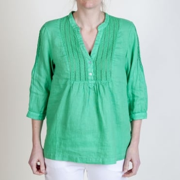 Lace Bib Blouse in Mint