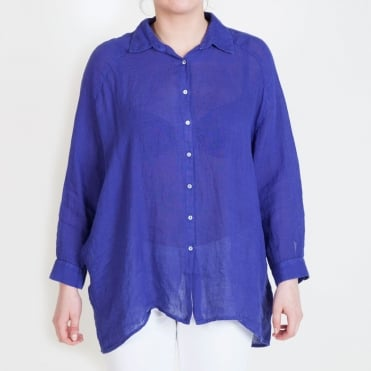 Oversized 3/4 Sleeve Shirt in Deep Wisteria