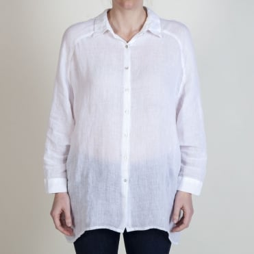 Oversized 3/4 Sleeve Shirt in White