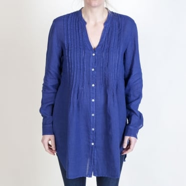 Pintuck L/S Blouse in Crown Blue