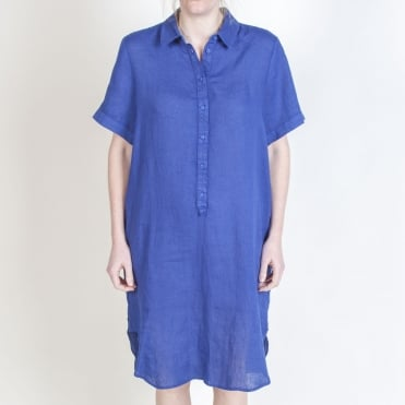 S/S Midi Shirt Dress in Crown Blue