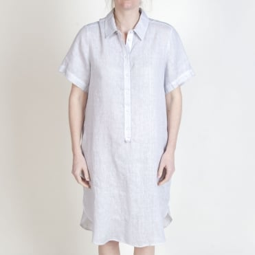 S/S Midi Shirt Dress in Light Grey