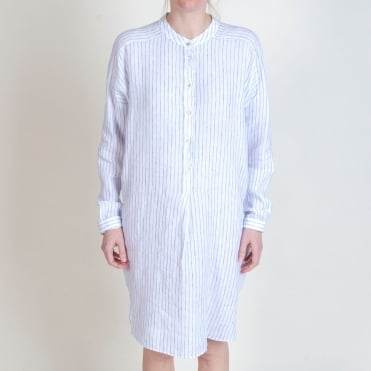 Stripe Shirt Dress in Blue/White