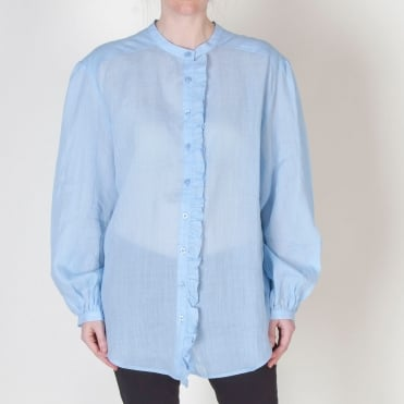 Linen Ruffle Detail Shirt in Sky Blue