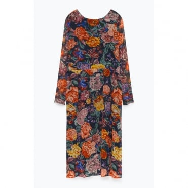Botanic Print Long Sleeve Viscose Dress in Multi