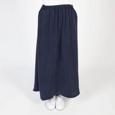 Cupro Long Skirt in Ink