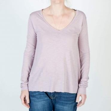 Jacksonville V Neck Long Sleeve Tee in Mauve