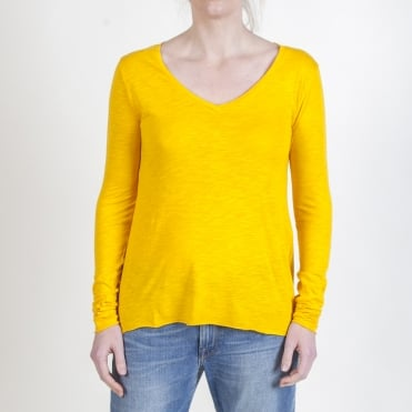 Jacksonville V Neck LS Tee in Sunflower Yellow