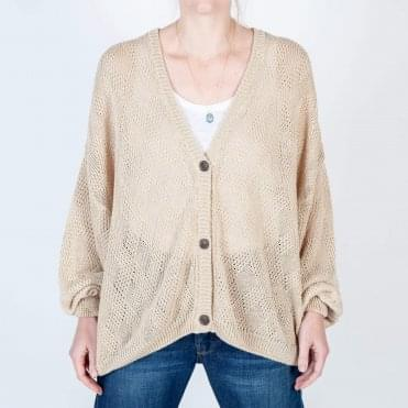 Lace Linen Knit Cardigan in Cashew