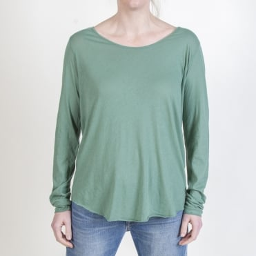 Long Sleeve Round Neck Suprema Cotton T-Shirt in Almond Green