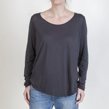 Long Sleeved Round Neck Suprema Cotton T-Shirt in Carbon