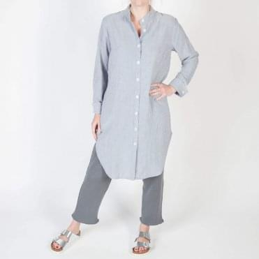 Long Stripe Summer Beach Shirt in Grey