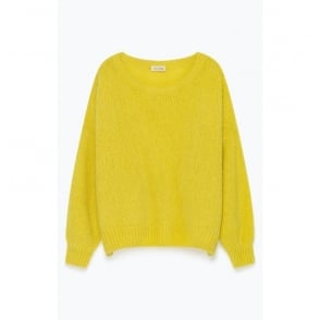 Mohair and Merino Mix oversize jumper in Sun Yellow