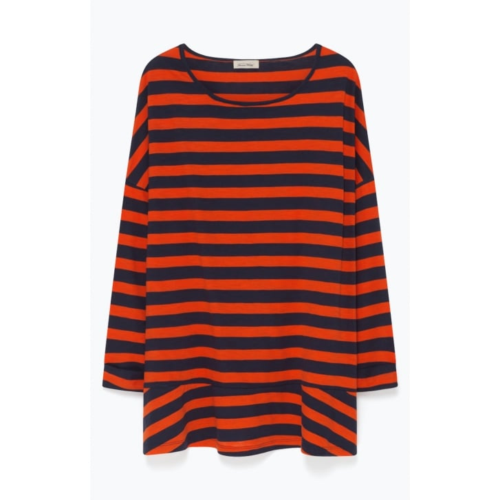 AMERICAN VINTAGE Oversize Wide Stripe Jersey with Peplum in Orange/Navy