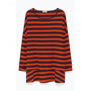 Oversize Wide Stripe Jersey with Peplum in Orange/Navy