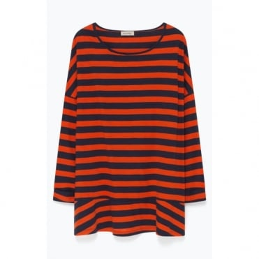 Oversize Wide Stripe Jersey with Peplum in Orange/Navy