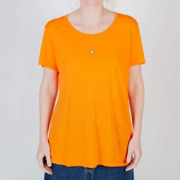 Round Neck Super Soft T Shirt in Papaya Orange