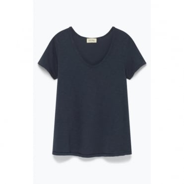 Short Sleeve Soft V Neck T-Shirt in Petrol