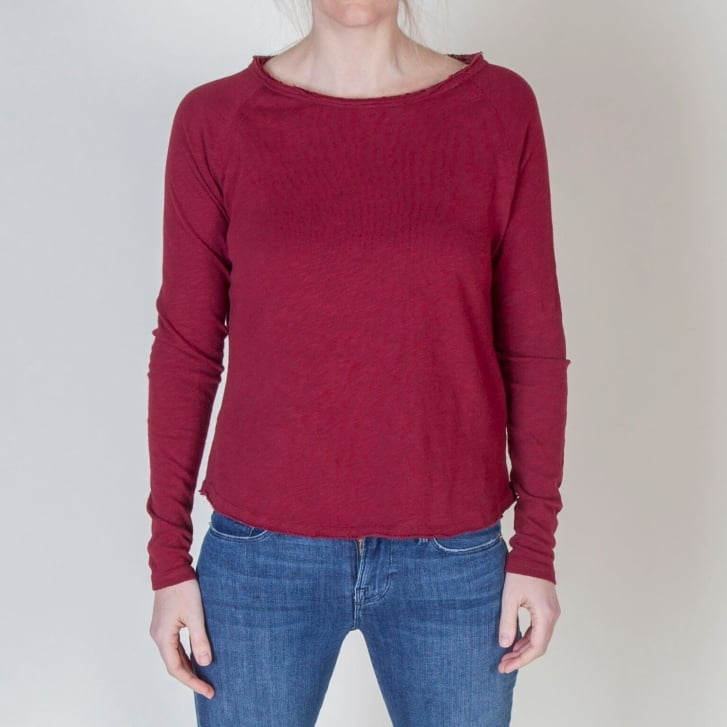 AMERICAN VINTAGE Sonoma Long Sleeved Top in Grenadine Red