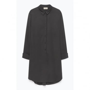 Viscose Crepe Shirtdress with Pockets in Pineforest