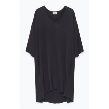 Viscose Crepe Tunic Dress with Pockets in Carbon