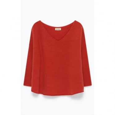 Wool Mix V Neck Knit in Kiss