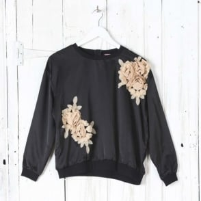 Black Sateen Top with Florals