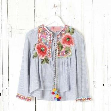 Embellished Embroidered and Pompom Jacket