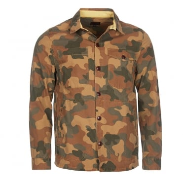 Camo Button Thru Overshirt in Olive