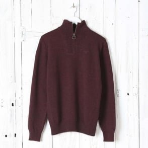 Essential Lambswool Half Zip Jumper in Merlot
