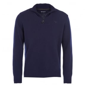 Essential Lambswool Half Zip Jumper in Navy