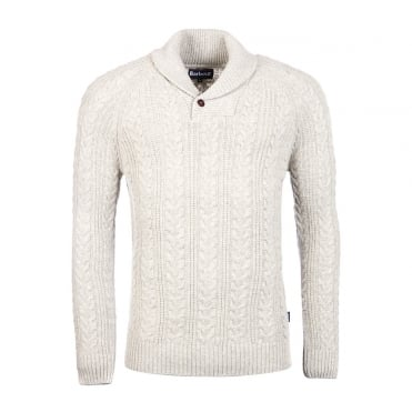Galloway Cable Shawl Neck Jumper
