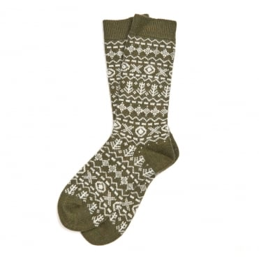 Newton Olive Fairisle Socks