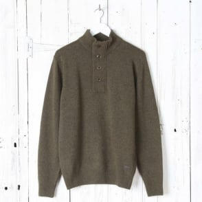 Patch Half Zip Jumper in Willow Green