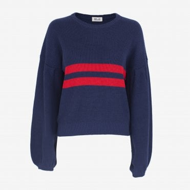 Celeste Stripe Oversize Knit in Evening Blue