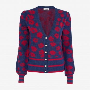 Cher Poppy Cardigan in Navy