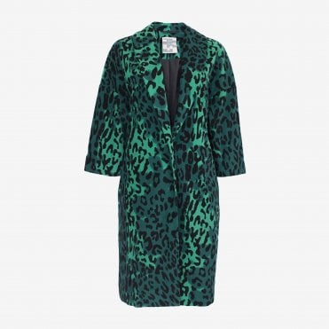 Dara Leopard Duster Coat in Green Megaleo